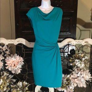 Michael kors teal dress 👗 cinched slinking waist